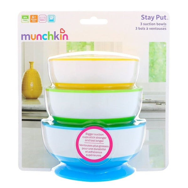 Munchkin Stay-Put Suction Bowls - 3 Pack - BambiniJO