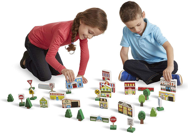 Melissa & Doug - WOODEN TOWN PLAY SET
