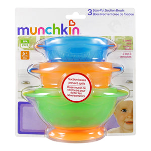 3 Pack Munchkin Stay Put Suction Bowl