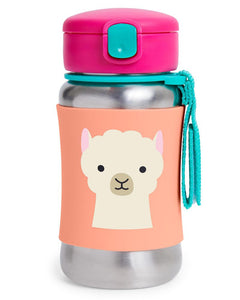 Zoo Stainless Steel Straw Bottle - Llama - BambiniJO