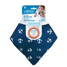 Load image into Gallery viewer, Bandana Bib with snap on Silicone Teether - Anchors - BambiniJO