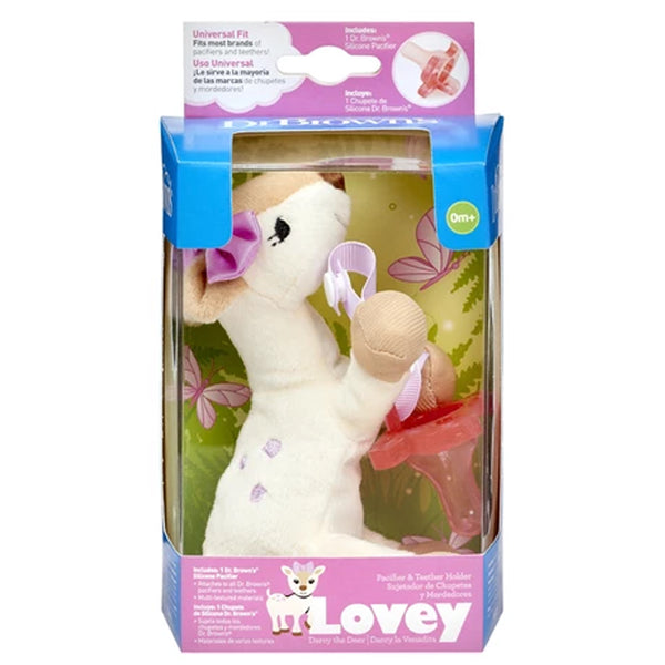 "Sensory Pacifier & Teether Holder with Silicone Pacifier ""Lovey"" - BambiniJO"