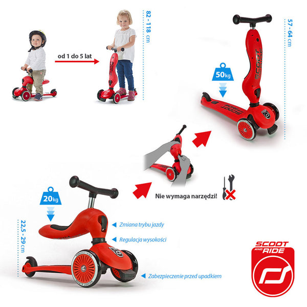 Scootandride - Highwaykick 2in1 1-5 years Red - BambiniJO