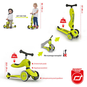 Scootandride - Highwaykick 2in1 1-5 years Lime - BambiniJO