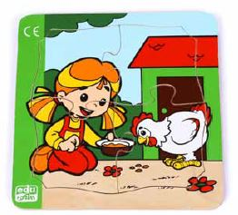 Edu Fun - Playing with my hen 4 piece Puzzle - BambiniJO