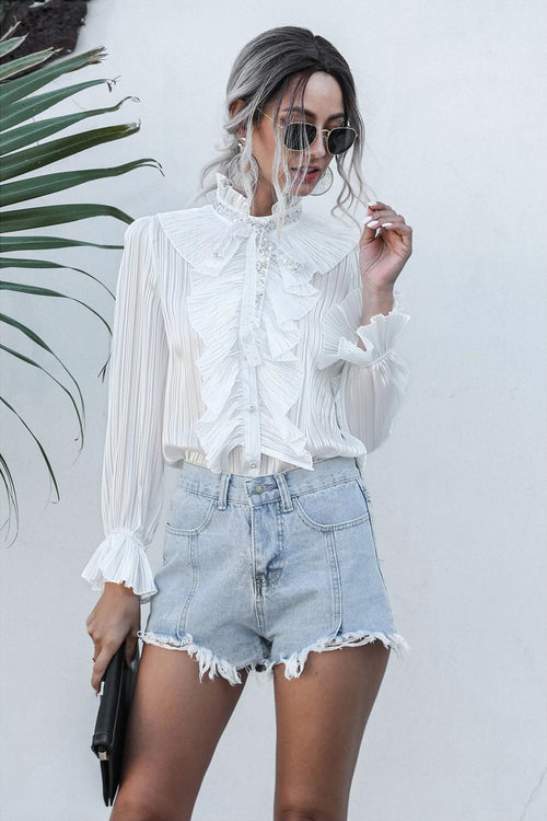 Isabell Elegant White Ruffle Blouse - Fashion Movements Blouse