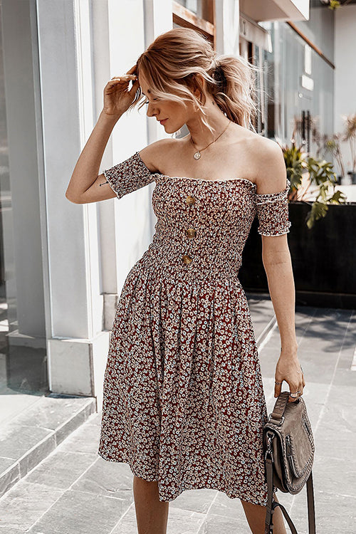 Joselynn Brown Off Shoulder Dress - Fashion Movements dress