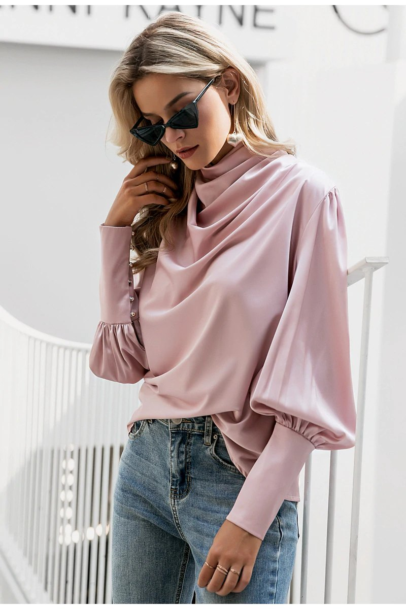Elenore Pink Satin Blouse - Fashion Movements Tops