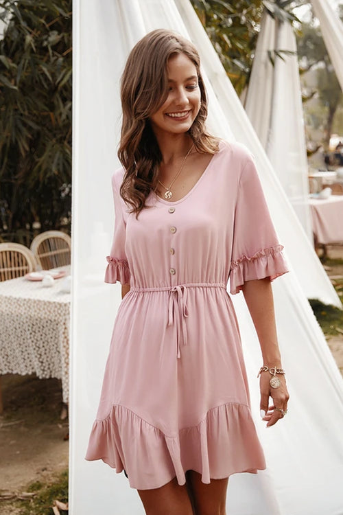 Ava Pink Ruffle Mini Dress - Fashion Movements Dress