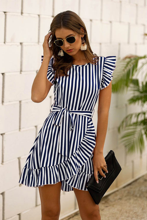 Alisa Blue Striped Ruffled Dress - Fashion Movements dress