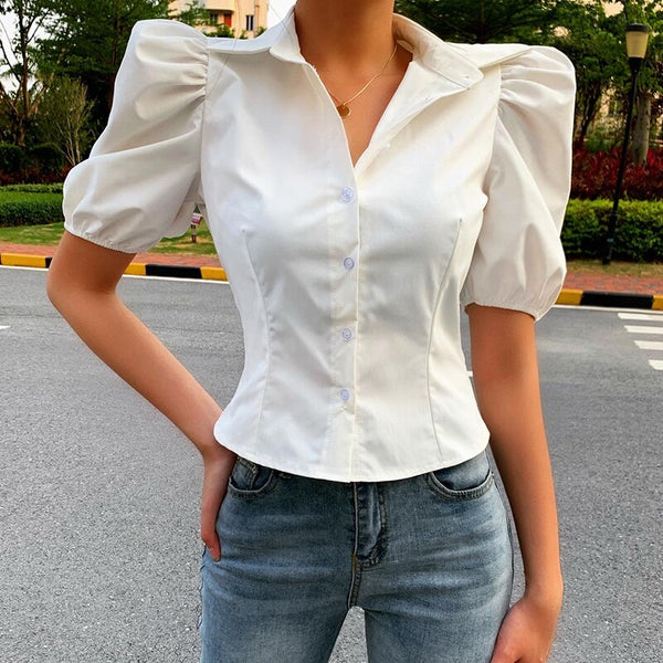 Sarah White Puff Sleeve Shirt