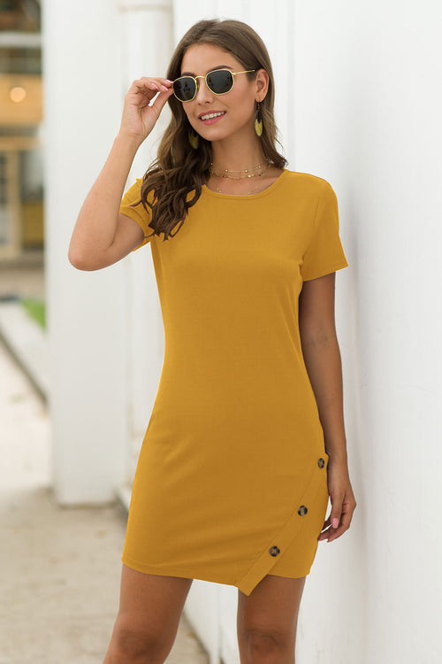 Elia Yellow Ribbed Dress - Fashion Movements dress