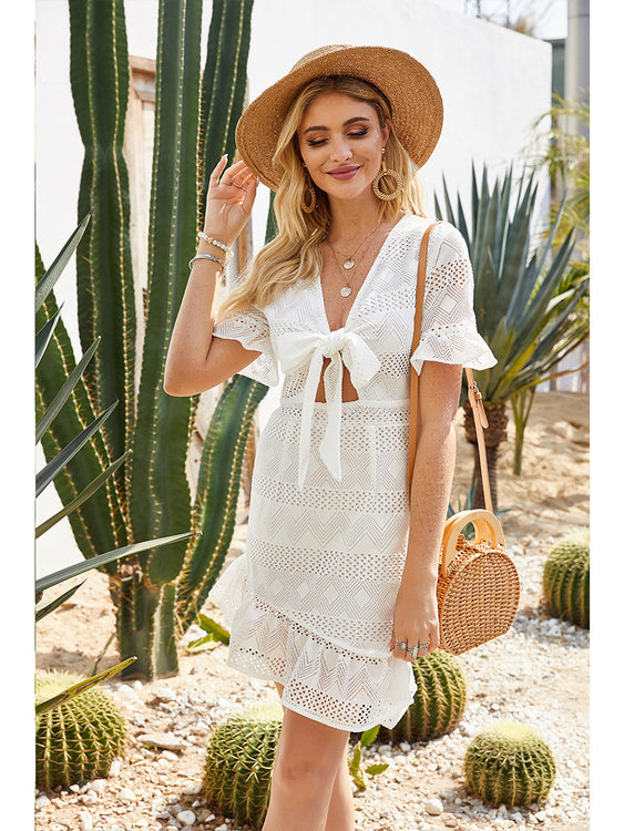 Willow White Bow Tie Dress - Fashion Movements dress