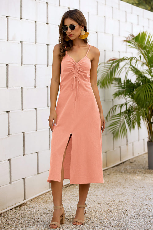 Clover Pink Drawstring Midi Dress - Fashion Movements dress