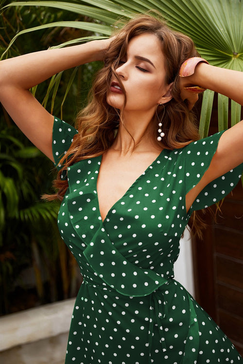 Bryony Green Polka Dot Wrap Dress - Fashion Movements dress