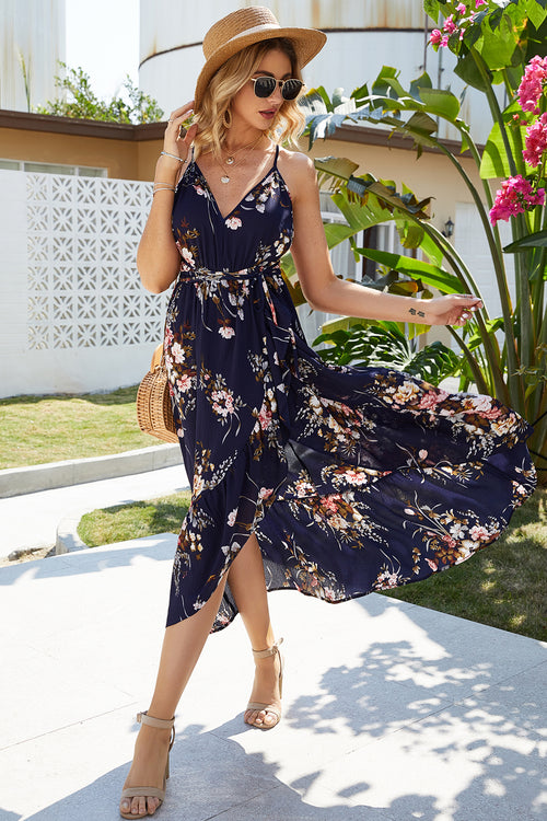 Nisha Blue Floral Midi Dress - Fashion Movements dress