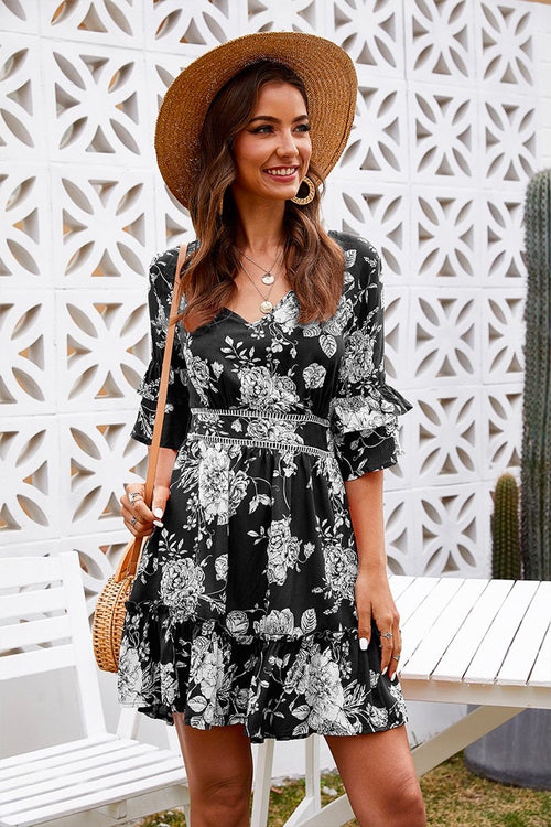 Lydia V-Neck Floral Dress Black - Fashion Movements dress