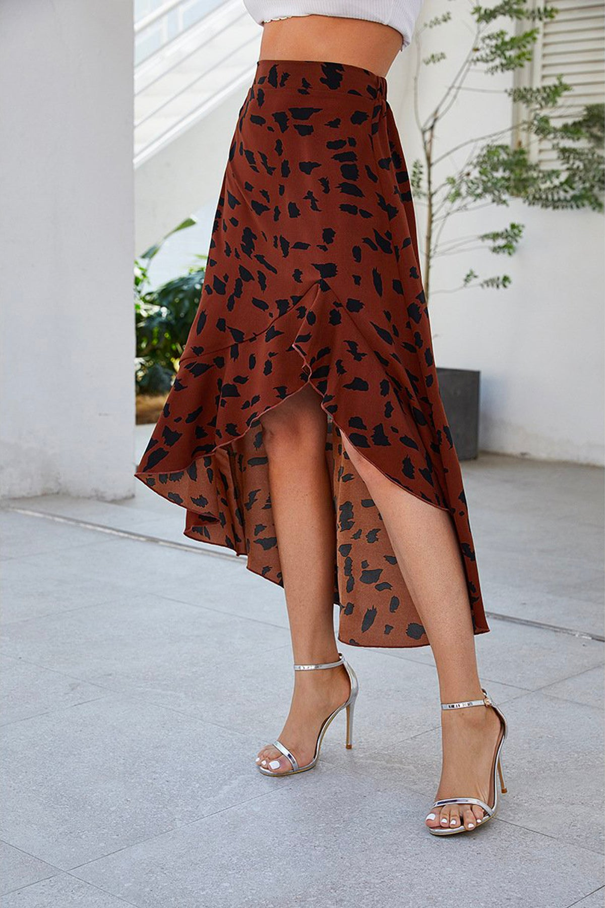 Fray High Waist Leopard Ruffle Skirt Brown - Fashion Movements skirts