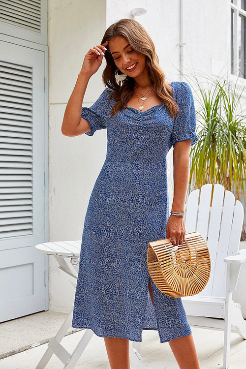 Maya Blue Floral Midi Dress - Fashion Movements Dresses