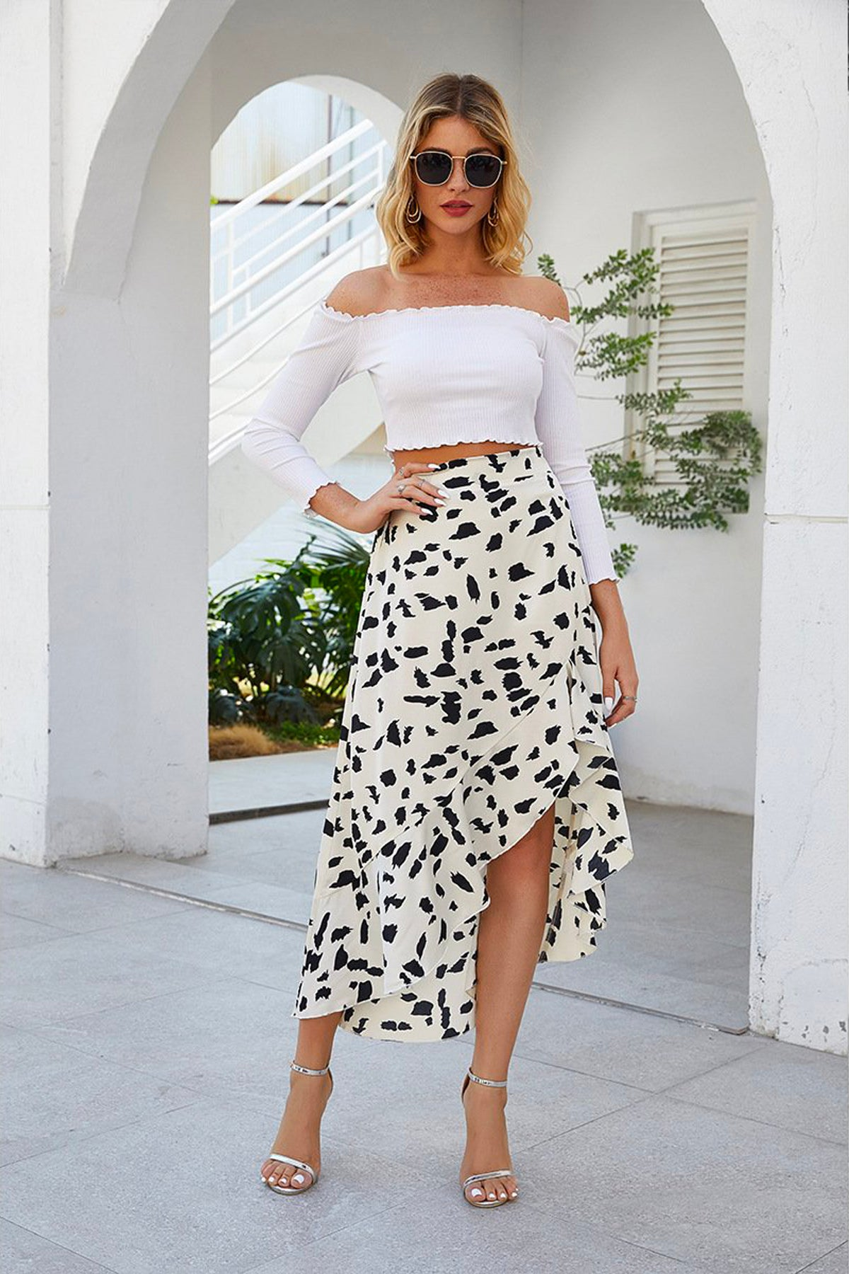 Fray High Waist Leopard Ruffle Skirt White - Fashion Movements skirts