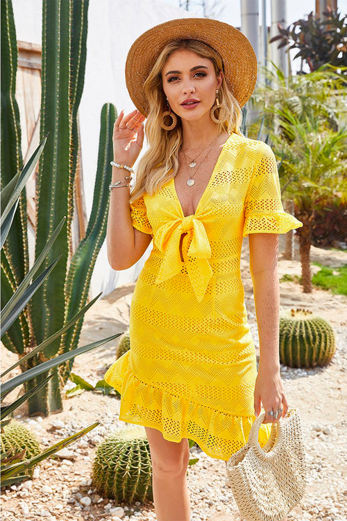 Willow Yellow Bow Tie Dress - Fashion Movements dress