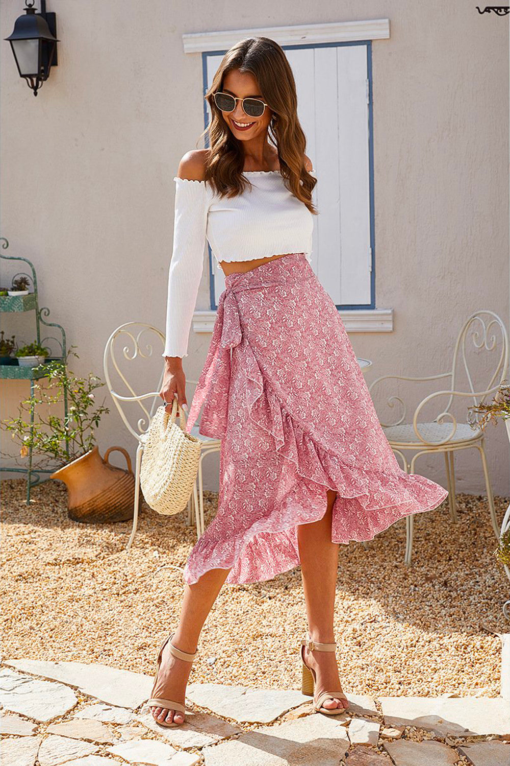 Lora High Waist Floral Ruffle Skirt Pink - Fashion Movements skirts