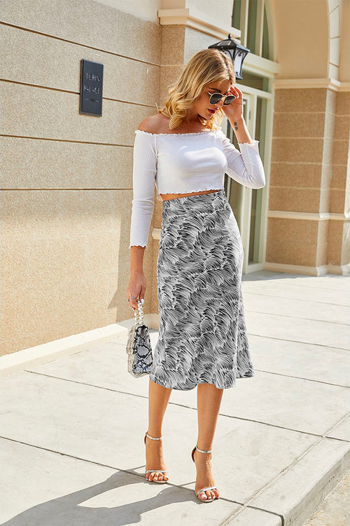 Celia High Waist Midi Skirt Grey - Fashion Movements skirts