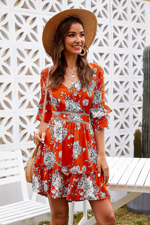 Lydia V-Neck Floral Dress Orange - Fashion Movements dress