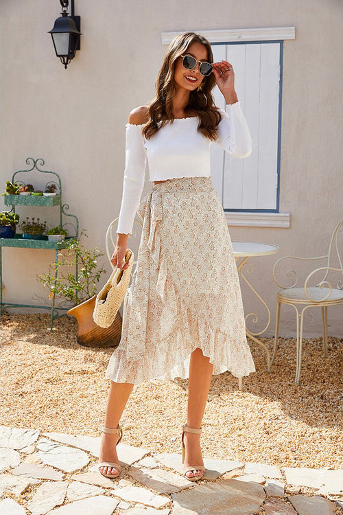 Lora High Waist Floral Ruffle Skirt Nude - Fashion Movements skirts
