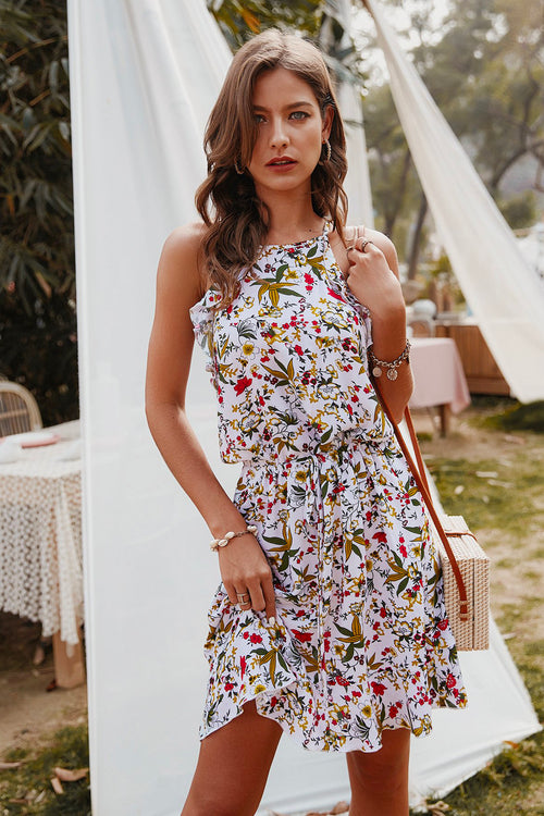 Brianna Floral Halter Dress