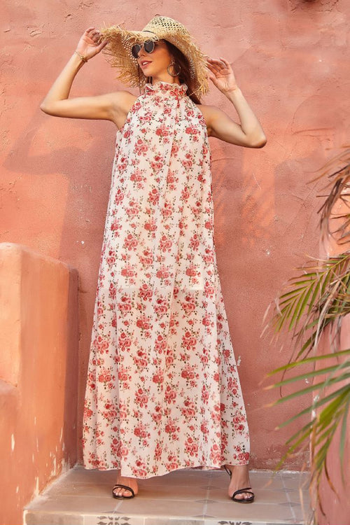 Sabine Rose Pattern Maxi Dress - Fashion Movements Dresses