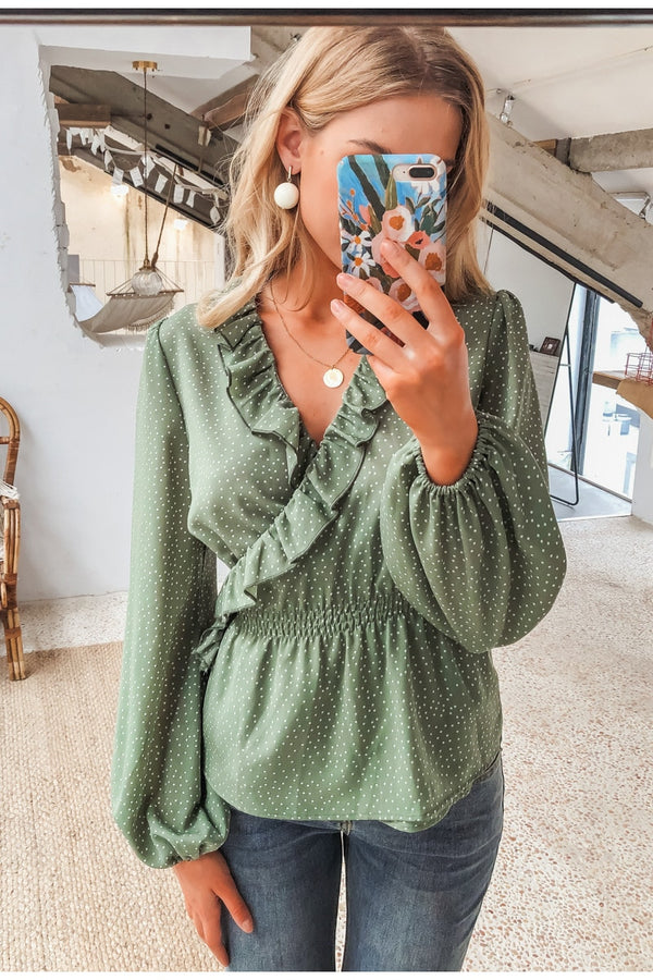Mia Pastel Green Dot Blouse - Fashion Movements Tops
