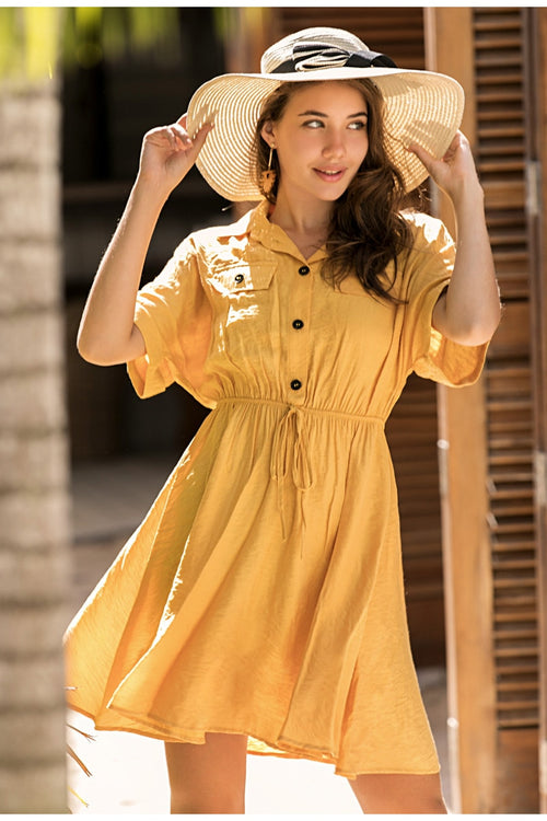 Trisha Yellow Casual Pocket Dress - Fashion Movements Dresses