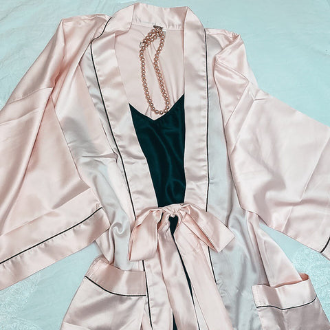 Peach & Black Satin Set