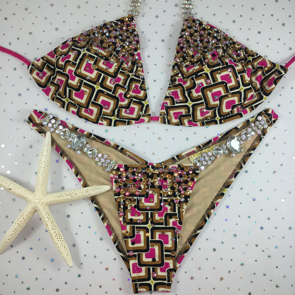 Fuchsia/Tan Square Bubbles Diamond Princess Elite Large standard top/mid coverage colored crystal upgrade(we size bottom to your measurement)
