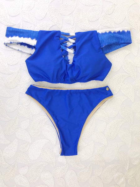 Custom Blue Dutchess Bombshell Off the Shoulder Highwaisted Bikini 2:1 (NO Scrunch Butt)
