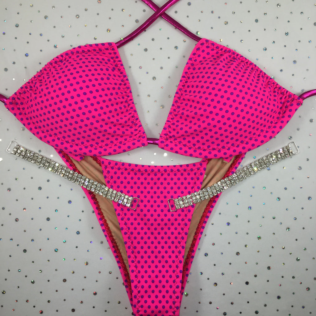 Pink/Purple Polka Dot Brazilian Cheeky Quick Ship