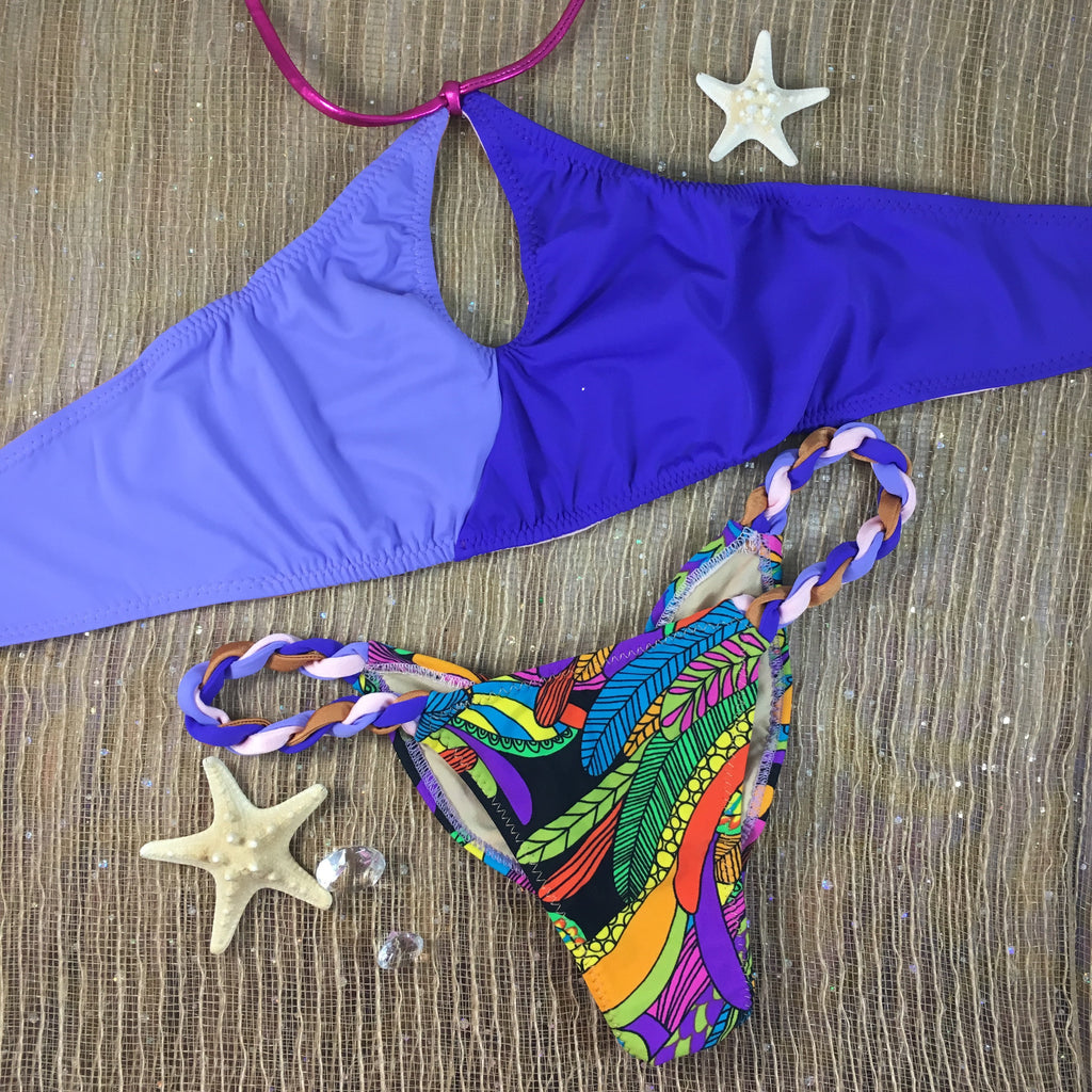 Neon/Lavendar/Marigold Rope Sporty Circle 2:1 Flip It Reversible Bikini Midcoverage Cheeky