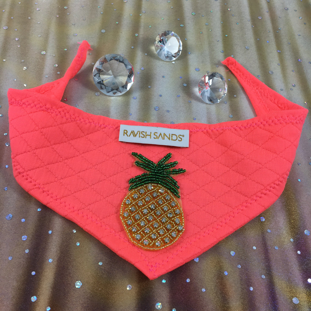 Ravish Pet Designer Pineapple Rhinestone Scarf (neon coral/orange) $19.99