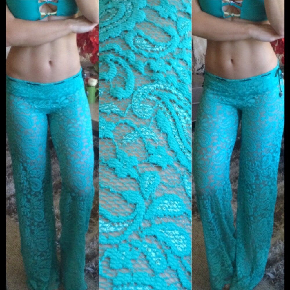 Stretch/drawstring bright teal CoverUp Pants Quick Ship and custom options