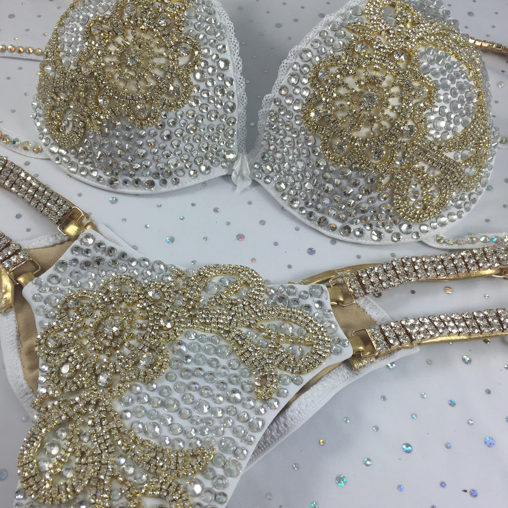 Custom White/gold Themewear with wings $1148 or bikini only $749