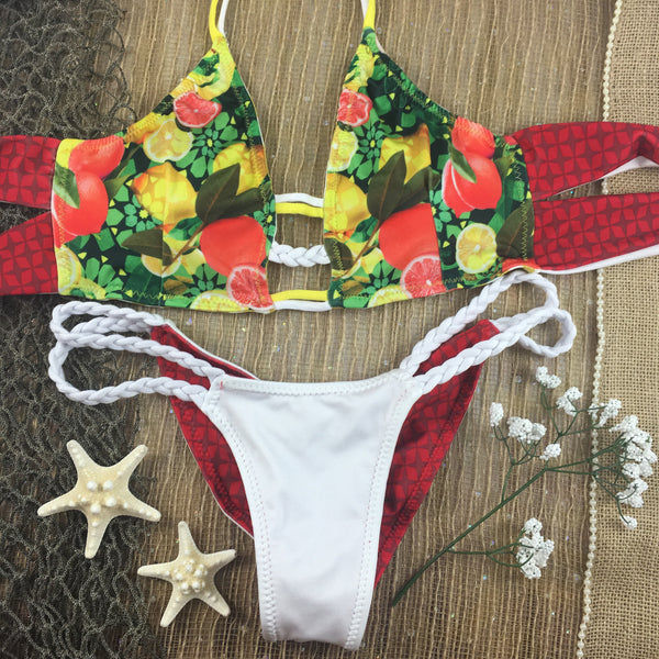 2017 Gold/White Stripe/Tropical (***White braid)Reversible  4:1 Flip It Double Braid Bikini Brazilian Cheeky Quickship