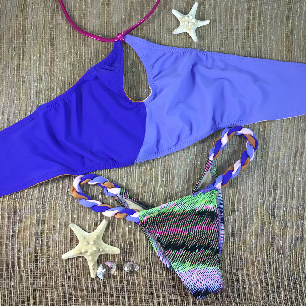 2017 Pink/Lavendar/Purple Rope Sporty Circle 2:1 Flip It Reversible Bikini Micro Cheeky