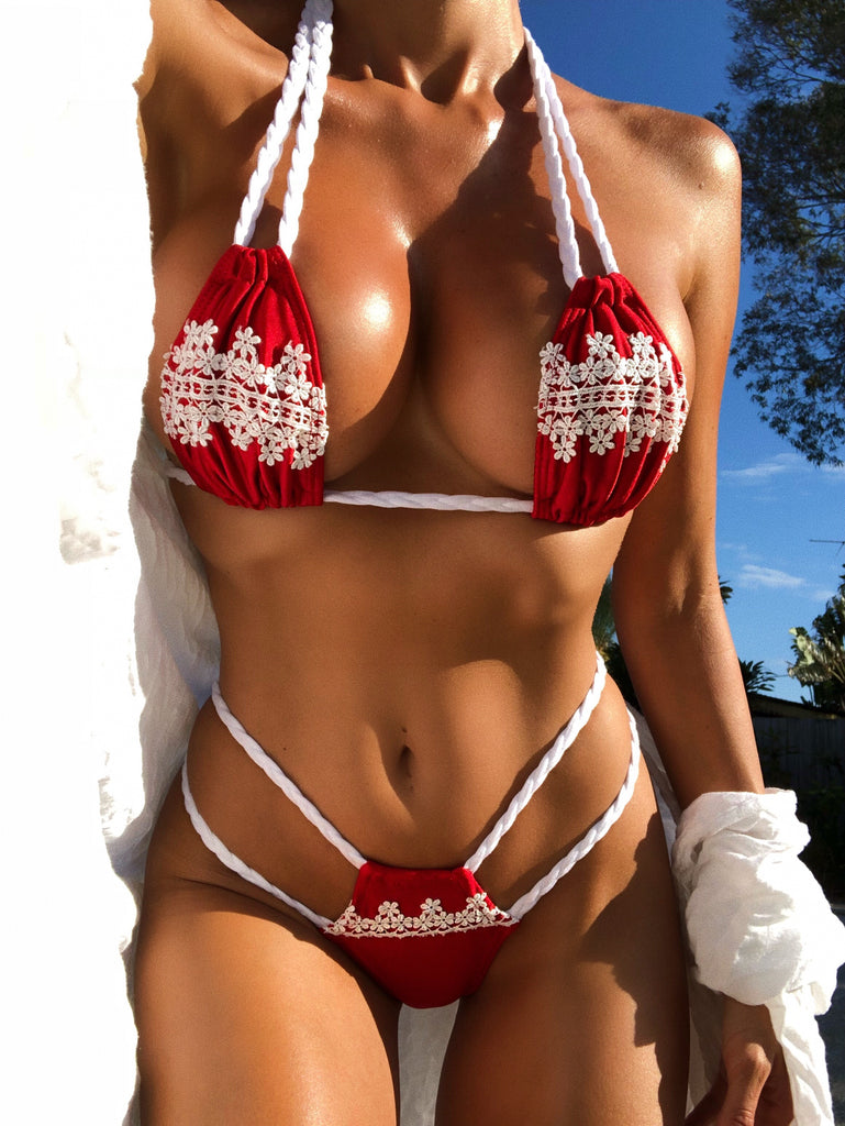 2018 Red/White Flower Double Braid Bikini Signature Top/Brazilian Cheeky (hope) (abby)*Custom option available too