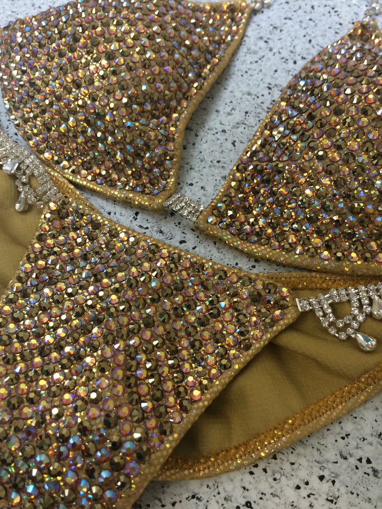 Quick View Competition Bikinis Gold Bombshell Bling Luxe Swarovski Crystals