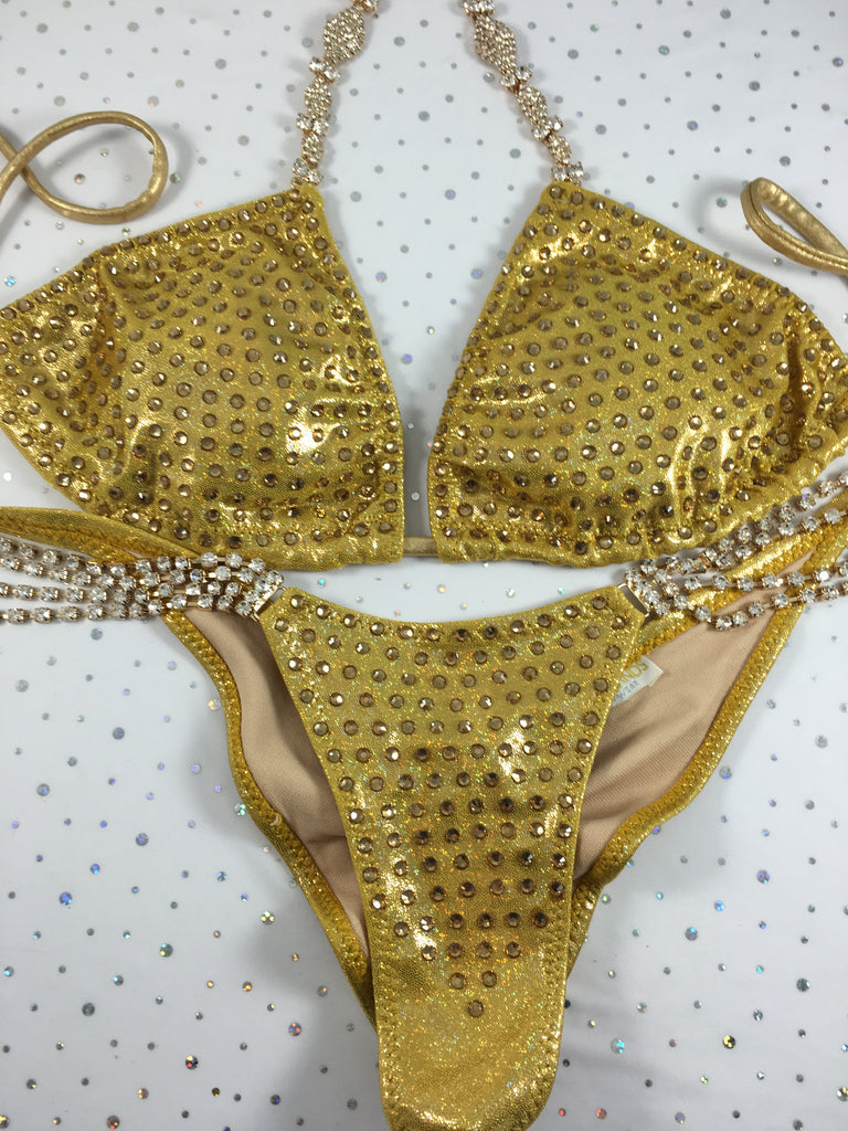 Gold Metallic Elite Bling Bomshell color crystal upgrade quick ship large top/ brazilian cheeky (we size bottom to your measurement)