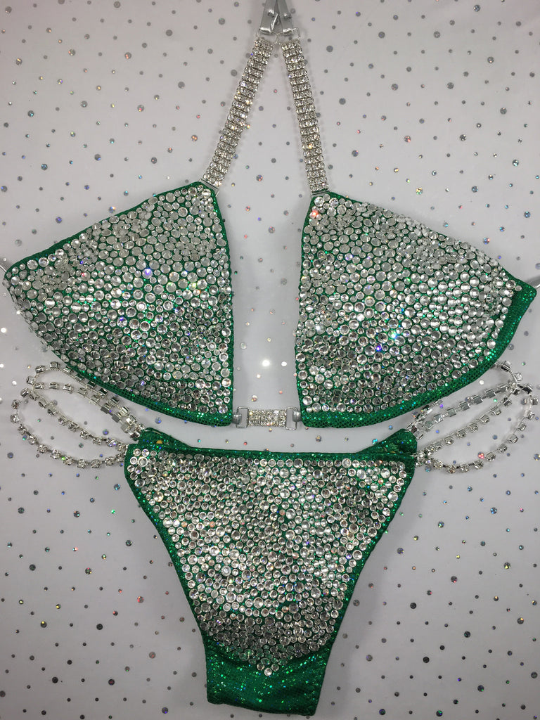 Green 1 bubble LUXE quick ship medium top/HIGHER WIDER front/ micro cheeky (we size bottoms to your measurements)