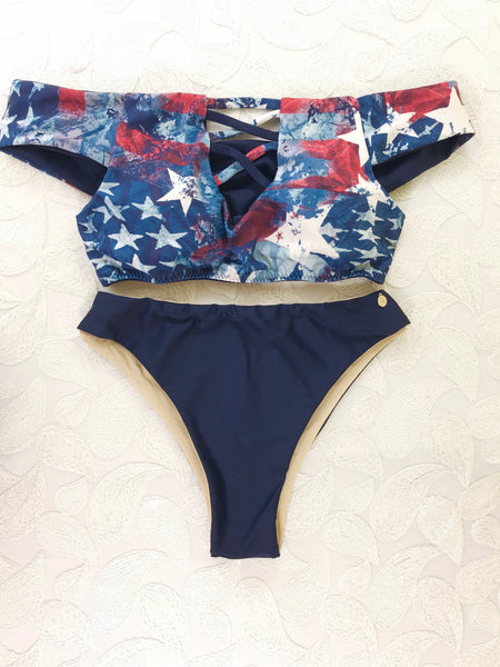 2018 American Flag Bombshell Off the Shoulder Highwaisted 2:1 Bikini Brazilian NO Cheeky/Scrunch