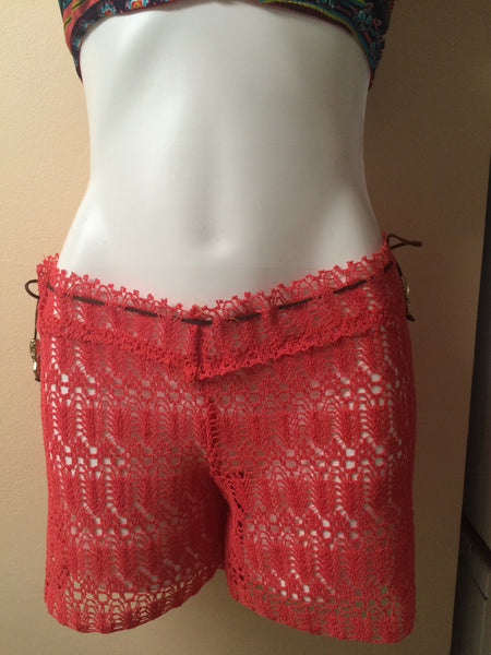 Burnt Orange crochet coverup short with drawstring