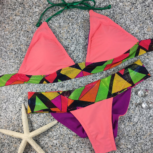 Purple/Coral Glitter Band Reversible 4:1 Flip it Bikini Brazilian Cheeky